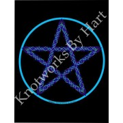 Pentagram - Water - Blue Star on Black Background